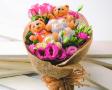 Teddy Bear for Gift - Teddy Bear, Chocolate & Flowers in a Bouquet