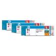 C9484A - HP Inkjet Cartridge C9484A (91) Magenta Multi Pack (3 x 775ML)