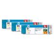 C9485A - HP Inkjet Cartridge C9485A (91) Yellow Multi Pack (3 x 775ML)