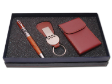 PEN SET 09 -Wooden Pewter Roller Pen, Leather Keychain, Stitch Name Card Case #Brown