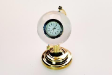 CYSTAL GLOBE WITH CLOCK ( GOLD HANDLE )
