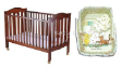 Cot Bed 4 in 1 SD865 with Latex Matress & Classic Pooh 7pc Beeding Package