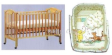 Cot Bed 4 in 1 SD860 with Latex Matress & Classic Pooh 7pc Beeding Package