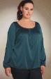 New Silk Evening Blue Top Sleeves Blouse size 14 to 18