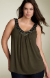 New Elegant Olive Studs Jewels Blouse top size 14 to 18