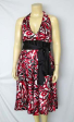 NWT Sexy Retro Print SILK Party Cocktail Dress 18 to 22
