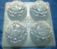 ROUND W WORDS MOTIF MOONCAKE CLEAR PLASTIC JELLY MOULD,4 in 1