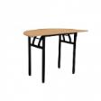 WOODSIDE Halfmoon Table - Beech Colour - 1200(W) x 600(D) x 760(H)