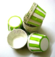 Muffin Cake Baking Paper Cup/Case-Pleated-GREEN & WHITE(S)-20pcs
