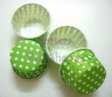 Muffin Cake Baking Paper Cup/Case-Pleated-GREEN W WHITE DOTS(M)-20pcs