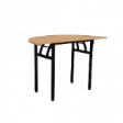 WOODSIDE Halfmoon Table DLX  - Beech Colour - 1200(W) x 600(D) x 760(H)