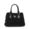 Prada BN2393 Medium Tote in Black Gauffre Ruched Tessuto Nylon