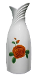 The White Collection Candle Holder / Vase Decal Orange Rose.