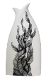 The Classic Black And White Vase Collection Rose Bud Series Hand Painted Ferns.