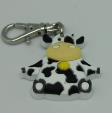Cow Themed Zipper Charm Keychain