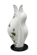 The Classic Black And White Collection Kebaya Sculpture Lamp Series 03 Hand Painted Morning Glory Motif.
