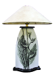 The Classic Black And White Table Lamp Collection Hand Painted Heliconia Pssittarum.