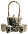 The Fine Terracotta Collection Tea Pot Sets Square Hand Painted Heliconia. Set Teapot c/w 4cups hand painted with lid cover.