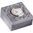 TUMASEK PEWTER ORCHIDS Square Table Clock / Pin Box