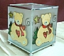 X'MAS BEAR GLASS CANDLE HOLDER