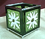 JH GREEN FLOWER GLASS CANDLE HOLDER (S)